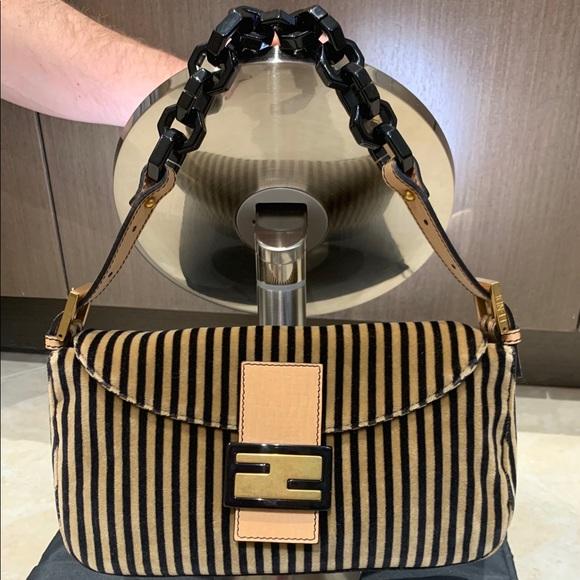 82f51f6d33 Fendi Velvet Baguette Bag